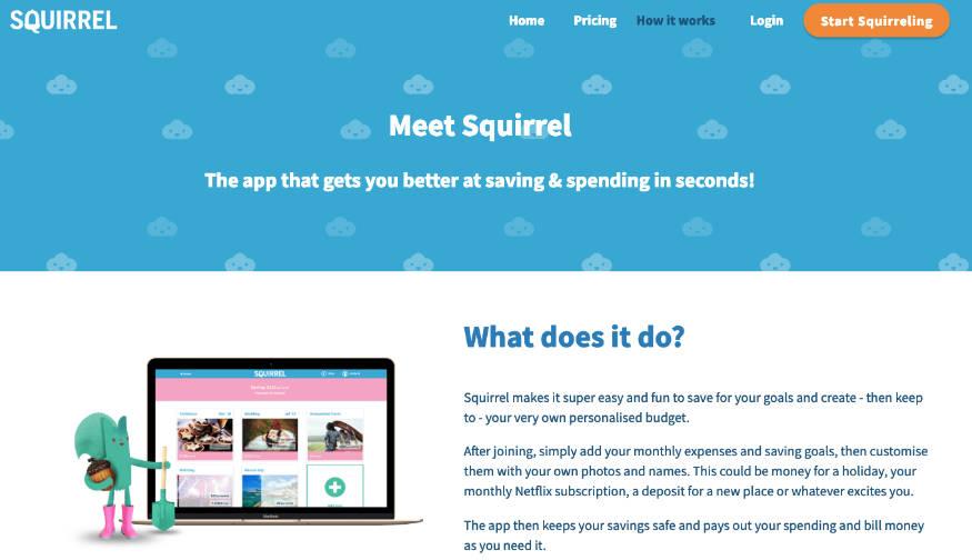 strona główna aplikacji Sqirrel