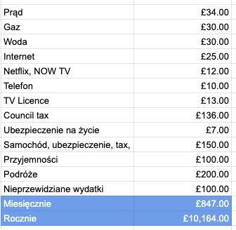 zrzut z ekranu prezentujący wydatki
