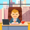 Big boss CEO sitting at the desk with laptop and coffee cup in big directors chair writing in notebook. Flat style cartoon vector illustration isolated on white background.